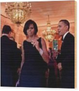 President And Michelle Obama Dance Wood Print