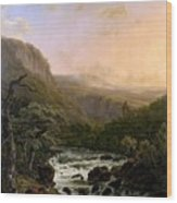 River In The Ardennes At Sunset Wood Print