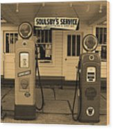 Route 66 - Soulsby Station Pumps Wood Print