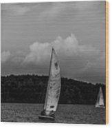 Sail Boat On Large Lake Wood Print