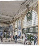 Sao Bento Railway Station Landmark Interior In Porto Portugal Wood Print