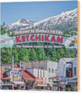 Scenery Around Alaskan Town Of Ketchikan Wood Print
