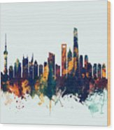 Shanghai China Skyline Wood Print