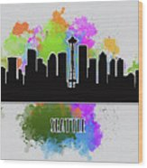 Seattle Skyline Silhouette Wood Print