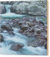 Slow Shutter Photo Of Figarella River At Bonifatu In Corsica Wood Print