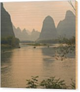 Sunset On The Li River Wood Print