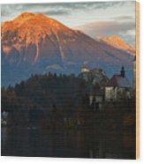 Sunset Over Lake Bled Wood Print