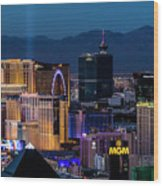 the Strip at night, Las Vegas Wood Print