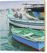 Traditional Boats At Marsaxlokk Harbor In Malta Wood Print