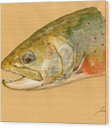 Trout watercolor painting Wood Print