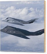 Two F-117 Nighthawk Stealth Fighters Wood Print by HIGH-G Productions