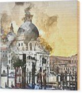 Venice Italy Digital Watercolor On Photograph Wood Print