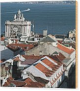 View Of Lisbon Harbor And Clock Tower Wood Print