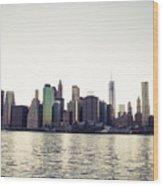 View Of Lower Manhattan Skyscrapers And Huge Sky Wood Print