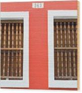 Wooden Door In Old San Juan, Puerto Rico Wood Print
