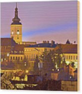 Zagreb Historic Upper Town Night View Wood Print
