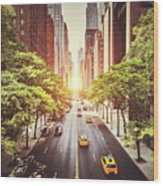 42nd Street In New York During The Day  Wood Print