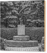 4387- Sculpture Black And Whi Wood Print