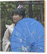 4479- Girl With Umbrella Wood Print