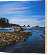 Sunset Bay Beach Wood Print