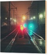 47015 Miscellaneous Rail Track Rail Track And Lights Wood Print