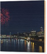 4th Of July Fireworks At Portland Waterfront 2016 Wood Print