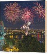 4th Of July Fireworks Wood Print