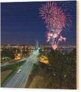 4th Of July Fireworks Portland Oregon Wood Print