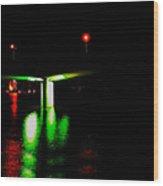 4x1 Moon Over Sarasota And Ringling Causeway Bridge At Night Wood Print