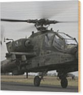 Ah-64 Apache Helicopter On The Runway Wood Print