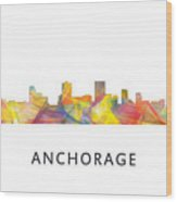 Anchorage Alaska Skyline Wood Print