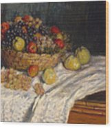 Apples And Grapes Wood Print