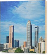 Atlanta Downtown Skyline With Blue Sky Wood Print