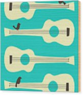 Birds On Guitar Strings Wood Print by Jazzberry Blue