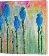 5 Bluebirds Of Happiness Wood Print