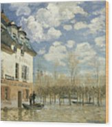 Boat In The Flood At Port Marly Wood Print
