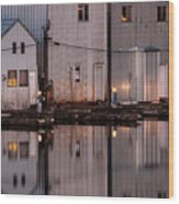 Boathouse Reflections  Wood Print
