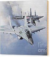 Bulgarian And Polish Air Force Mig-29s Wood Print