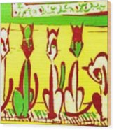 5 Cats On A Piano Wood Print