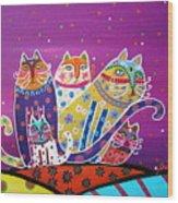 5 Cats Wood Print