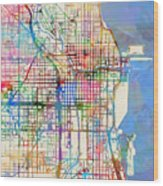 Chicago City Street Map Wood Print