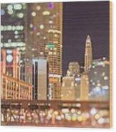Chicago Illinois Tilt Effect Cityscape At Night Wood Print