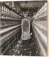 Child Laborer Portrayed By Lewis Hine Wood Print
