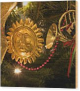 Christmas Tree Decorations Wood Print