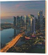 Cityscape Of Singapore City Wood Print