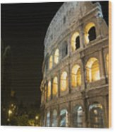 Coliseum Illuminated At Night. Rome Wood Print