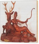 Diana And The Stag Wood Print