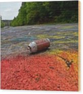 Discarded Spray Paint Can Wood Print