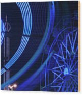 Ferris Wheel In Motion Wood Print
