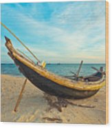 Fisherman Boat Wood Print